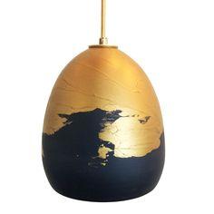 Ombre Ceramic Black & Brass Clay Pendant Light