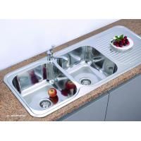 Double Bowl Kitchen sink of KID12050, with drain board
