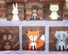 Set of 4 woodland animals woodland nursery by AmbersWoodenBoutique