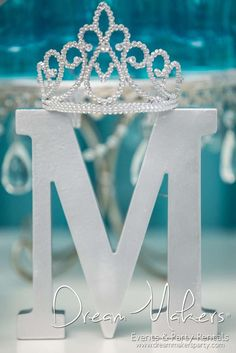 Crown topped decoration at a Frozen birthday party! See more party planning ideas at CatchMyParty.com!