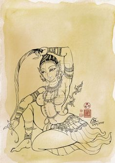 Prithvi Mata by In-Sine on DeviantArt Shiva Art, Krishna Art, Cool Art Drawings, Art Sketches, Sexy Painting, Kerala Mural Painting, Latino Art, Tibetan Art, Thai Art