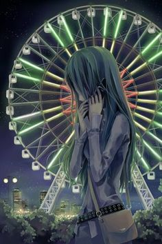 ✮ ANIME ART ✮ anime girl on cellphone. . .city skyline. . .night sky. . .ferris wheel. . .city lights. . .anime scenery. . .kawaii