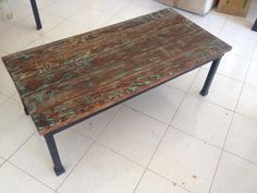 Rustic Industrial Coffee Table with distressed wood