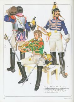 1. Trooper of the 12th Cuirassier. 1813. 2. Trumpet-Major of the 6th Cuirassier. 1813. 3.  Trumpeter of the 1st Cuirassier (ex-Cuirassier du Roi), beginning of the 100 Days, 1815.