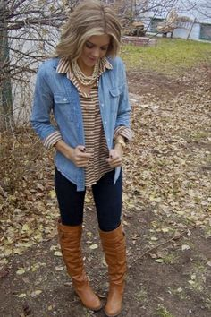 Striped button-up underneath chambray with leggings and boots.