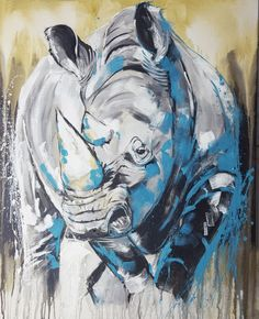 "Artprint Rhino ""One of the big five"" on large canvas - worldwide shipping #artforsalee #artprint #africanart #safari #rhino"
