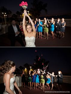 Fun idea for your bouquet toss: Throw a loosely-tied bouquet that will break apart in the air so that everyone gets a piece!