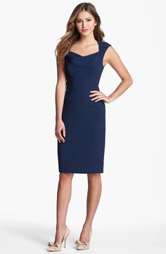 This navy dress is perfect for the office.