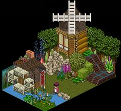 Another beautiful room created by the habbo '7' at http://Habbo.no. The room has both a watermill and windmill. Creative, huh? ;)    Room link: http://www.habbo.no/room/8065533