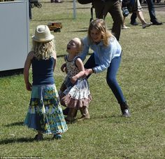 Horseplay: Lady Louise Windsor plays with her cousins Savannah and Isla Phillips at The Wi...