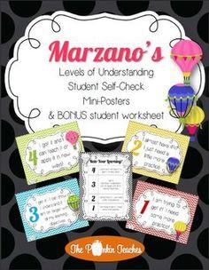 Marzano's Levels of Understanding Posters & BONUS student self-check worksheet Student Learning Objectives, Student Self Assessment, Student Binders, Student Data, Learning Goals, Formative Assessment, Teaching Strategies, Teaching Tools, Kindergarten Classroom