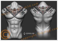 Symmetrical chestpiece or upperback tattoo design with orange accents - maori tattoos Maori Tattoos, Tattoos Bein, Samoan Tribal Tattoos, Marquesan Tattoos, Filipino Tattoos, Tribal Sleeve Tattoos, Back Tattoos Spine, Girl Back Tattoos, Back Tattoo Women