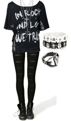 """In Rock and Love, We Trust"" by bvb3666 ❤ liked on Polyvore"