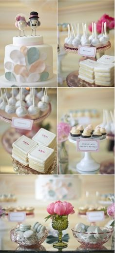 Engagement Party I like the tiny desserts idea - petit fours and cake pops and mini cupcakes.