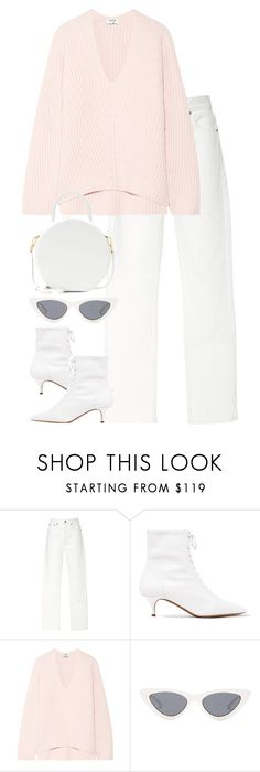 """""""Untitled #3327"""" by elenaday ❤ liked on Polyvore featuring RE/DONE, Tabitha Simmons, Acne Studios, Le Specs, Mansur Gavriel and pastelsweaters"""