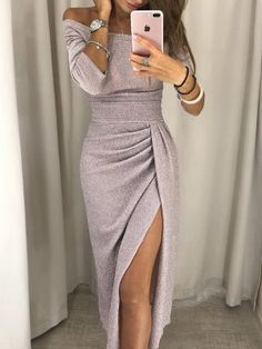 Shop Shiny Off Shoulder Ruched Thigh Slit Dress – Discover sexy women fashion at IVRose Sexy Dresses, Evening Dresses, Casual Dresses, Work Dresses, Elegant Dresses, Fall Dresses, Summer Dresses, Casual Outfits, Dress Work