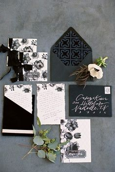 black and white wedding invitations - photo by Abigail Bobo Photography http://ruffledblog.com/moody-black-and-white-wedding-ideas