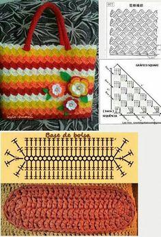 Colorful crochet bag free pattern