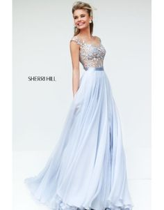 2014 Sherri Hill 11151 Off Shoulder A Line Prom Dress Light Blue