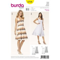 Great summer look for women who love vintage. Either plain, in white or unobtrusively colored, the focus is on the waist and underlines the feminine look. A Burda Style sewing pattern.