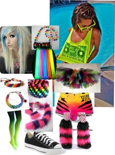 """Rave Outfit!!"" by volleychickss ❤ liked on Polyvore WANT THAT GREEN BOOM BOX TANK"