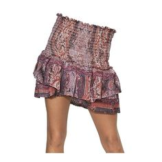 Isabel Marant Paisley Printed Silk Gauze Skirt ($600) ❤ liked on Polyvore