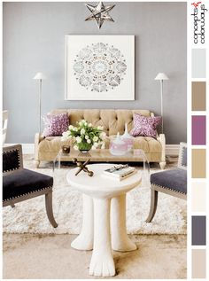 gray living room with purple and gold accents, color palettes, color combinations, color schemes, color ideas, color inspiration, color for interiors, blush tan, dark lilac gray, ivory, pale brown, purple, lilac, light brown, pale gray, cool gray, lilac gray, benjamin moore shadow