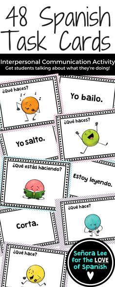 Interpersonal Communication | Spanish Task Cards with Verbs