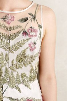 Sheer dress with green & pink floral embroidery. Azores Dress by Geisha Designs. Fashion Details, Look Fashion, Womens Fashion, Fashion Design, Petite Fashion, Curvy Fashion, Fall Fashion, Mode Style, Style Me