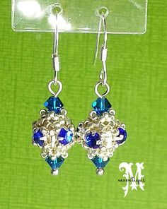 SquareCrown Earrings-a beaded bead with so many possibilities for necklaces & bracelets.