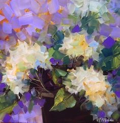 Deep Purple White Hydrangeas by Nancy Medina Oil ~ 12 x 12 $175