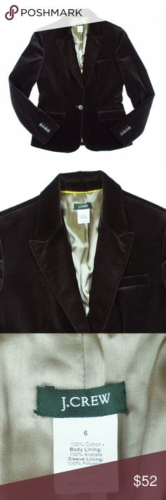"JCREW Chocolate Brown Velvet Blazer Jacket Excellent condition! This dark chocolate brown velvet blazer from JCREW features a button closure, front pockets and is fully lined. Measures: bust: 37"", total length: 24"", sleeves: 24"" J. Crew Jackets & Coats Blazers"