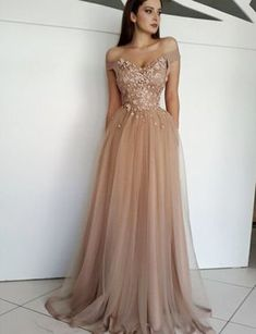 A-Line Off-The-Shoulder Champagne Long Prom Evening Dress  promdresses d4a8a4c6b414