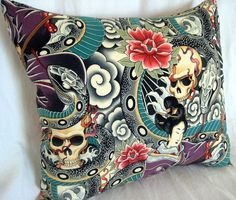 Tattoo Inspired Skull and Snake 18x18 by MissyMadeWell on Etsy