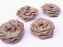 Cotton Ribbon Flower Brooch with Freshwater Pearl