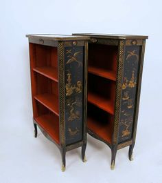 Pair of French Chinoiserie Bookcases | From a unique collection of antique and modern bookcases at http://www.1stdibs.com/furniture/storage-case-pieces/bookcases/