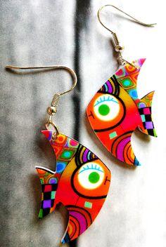 Golden fish earrings,animal earrings,kid earrings,dangle earrings,gift for teen girls, little girl jewelry,funky,cute,funny,small, birthday