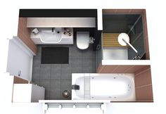 bathroom layout of 6 square meters with bath and shower cabin … Storage Mirror, Bathroom Storage, Bathroom Interior, Interior Design Living Room, Bathroom Vanities, Small Bathroom Layout, Large Bathrooms, Amazing Bathrooms, Modern Shower