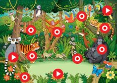 Describing the Jungle - Wild Animals Safari Jungle, Jungle Theme, Jungle Animals, Wild Animals, Rainforest Theme, Rainforest Classroom, Le Zoo, Writing Pictures, School Murals