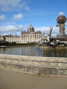 Castle Howard built by Sir John Vanburgh between 1699 and 1712, with the Atlas Fountains in the foreground.