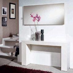 Consola y espejo NOVA de Expormim. De madera de roble, acabados tinte y sólido (blanco laca). Auxiliar para recibidor de estilo moderno.