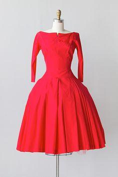 vintage 1950s red taffeta bows pleats party dress
