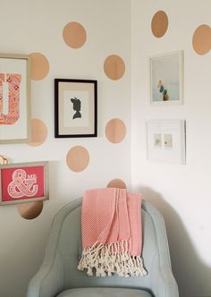 Ruby's Room @ohjoy #modernnursery #summerinthecity paper roses, polka dots, nursery walls, wall decals, contact paper, wall treatments, nurseri, rose gold, girl rooms
