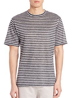 Saks Fifth Avenue Collection Striped Linen Tee - Black - Size