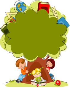 Cartoon painted trees and children PNG and Vector