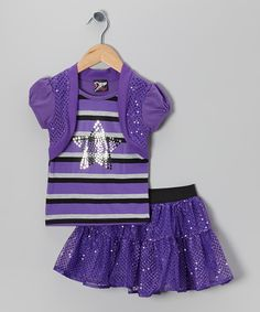 Take a look at this 2B Real Purple Stripe Star Layered Top & Sequin Skirt - Infant, Toddler & Girls on zulily today!