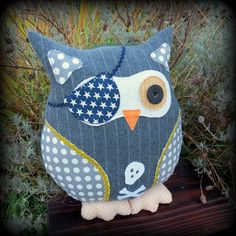 The pinstripe pirate.  A large owl cushion.  Owl pillow.   36cm tall.  ( 14.3 inches )