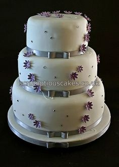 Wedding Cake - Purple Flowers & Silver Ribbon