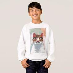 Kids' Hanes ComfortBlend® Sweatshirt - cute cat - kids kid child gift idea diy personalize design