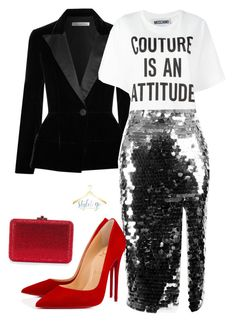 """Couture Sequin"" by stylesbyaw on Polyvore featuring Oscar de la Renta, Moschino, Anouki and Christian Louboutin"